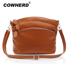 First layer brown genuine cow leather bags women mummy casual messenger bag handbag with 3 zipper pockets, 8237