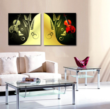 abstract modern 2 panel canvas wall art music Guitar oil painting canvas for living room kids decoration(China)
