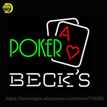 Neon Sign for Becks Green Poker Handcrafted Decorate Neon Signs Lights for Store Display Neon Bulbs Sign Signboards BRAND Lamps(China)