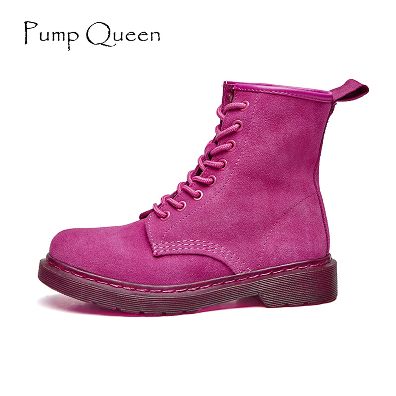 Purple Rose Red Women Ankle Boots Shoes Woman 2017 Autumn Green Color Motorcycle Boots Real Leather Lace Up Shoes zapatos mujer(China)