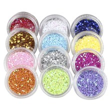 12 Pcs/set Round Corlorful Nail Glitter Powder Dust Confetti nail Sequins Women Manicure Decoration Tool Supplies(China)