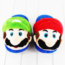26cm Super Mario Bros Slipper Mario Luigi Winter Warm Indoor Stuffed Slipper for Teenagers and Adults(China)