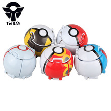 Pokeball With Random Figures Pikachu Inside Throw Automatically Bounce Japan Anime 7Cm Red Pokebolas Pvc Action Figure Kids Toys