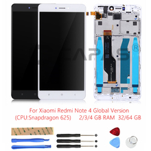 Tested LCD Display +Frame For Xiaomi Redmi Note 4 Global Version Snapdragon 625 Touch Screen LCD Digitizer Redmi Note4 4GB Parts