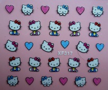 Mix Order: $0.7 XF317 Free Shipping Brand 3D Design Tip Nail Art Hello Kitty Nail Stickers Decals Carving Nail Art Decorations