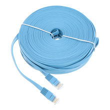 High Quality Blue High Speed Cat6 Ethernet Noolde Flat Cable 20m 30m Ultra Thin Design RJ45 Computer LAN Internet Network Cord