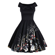 CharMma 2017 new Women A Line High Waist Vintage  Fit and Flare Dress Retro Bowknot Swan Print Sleeveless Summer Dress For Lady