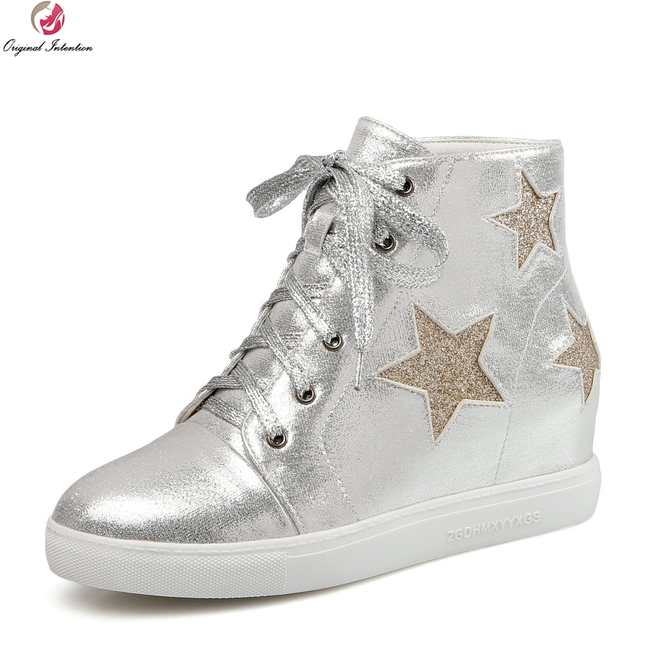 Original Intention New Cool Women Ankle Boots Fashion Height Increasing Comfortable Gold Silver Shoes Woman US Size 4-10.5<br>