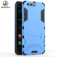 AKABEILA Mobile Phone Bags For Huawei P10 Plus Case Slim Robot Armor Phone Case Stand Shockproof Rubber Hard Back Cover Vicky(China)