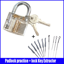 Hot sale padlock practice lock with Broken Key Extractor Set Locksmith Tool Key Removing Removal Hooks Lock Kit Free Shipping(China)
