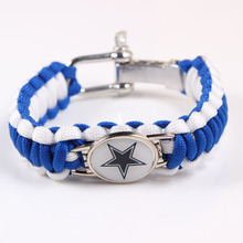 Screw Adjustable Paracord Bracelet Dallas Cowboys NFL Football Charm Bracelet Outdoor Camping Survival Bracelet Dropshipping