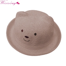 Summer Shape Cute Little Bear straw hat Newborn Toddler Pure Colors Girl Boy Baby Hat Kids hat Sunshine hat