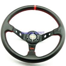 Free Shipping: OMP Steering Wheel Carbon Fiber PVC Auto Steering Wheel For Racing Car OMP Carbon Fiber Steering Wheel Deep Dish