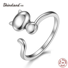 Shineland Open Adjustable Cat Ring Statement Jewelry 925 Sterling Silver Lovely Animal Finger Ring For Woman Girl Child Gifts(China)