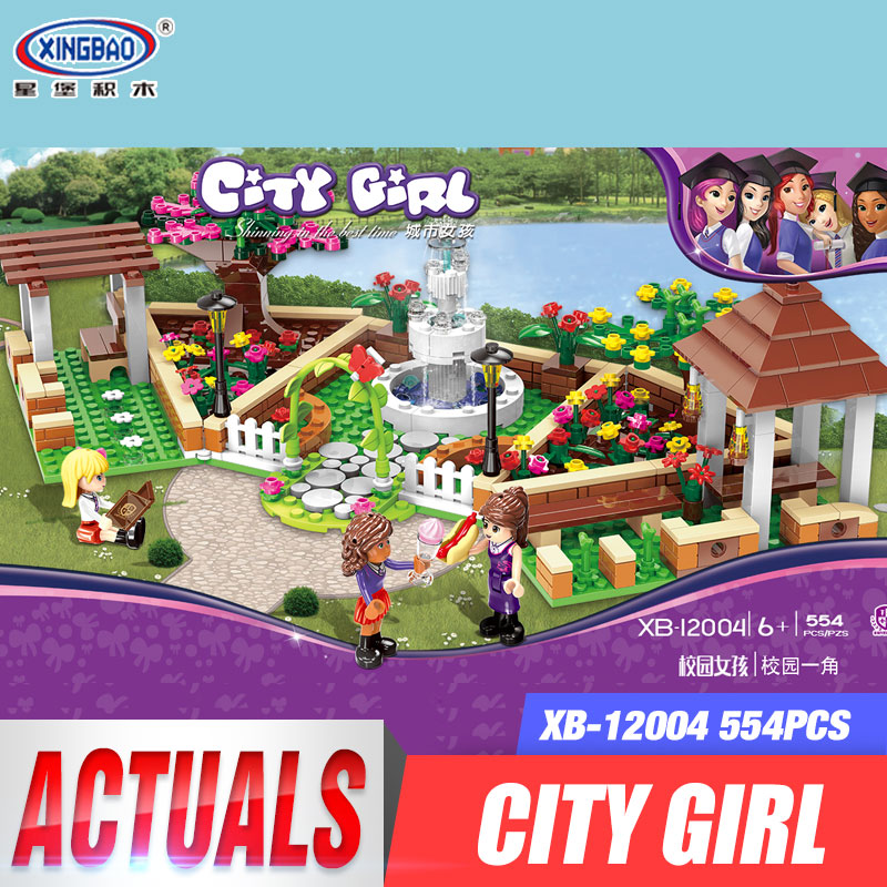 XINGBAO 12004 554Pcs City Girl Series The Corner of the School Set Building Blocks Bricks Educational Funny Toys Gifts for Kids<br>