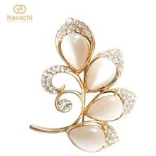 Navachi Leaves Tree Branch Twig White Opal Yellow GP Crystal Brooch Pin SMT7857(China)