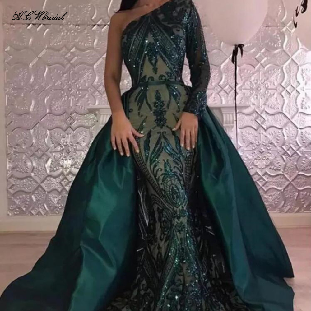 Amazing Green Sequin Appliques Mermaid Evening Dress Detachable Train One Shoulder Long Sleeve Arabic Prom Party Gowns
