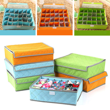 Foldable Colorful Bamboo Nonwoven Storage Box For Underwear Socks Tie Bra Closet Drawer Divider Organizer Box Container 24Cells