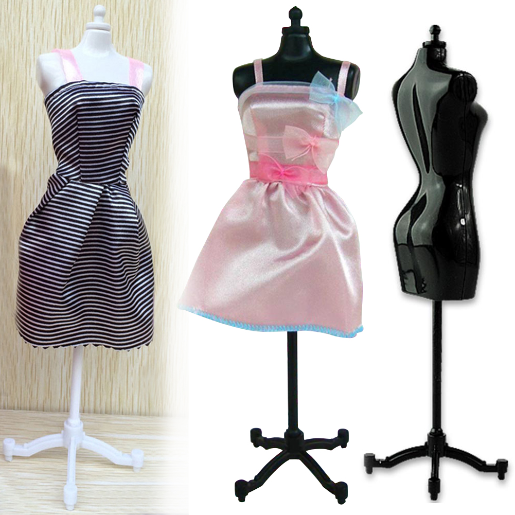 SUPVOX 10pcs Doll Dress Form Display Cloth Gown Plastic Demountable Display Support Holder for Doll Dress Dollhouse Decor
