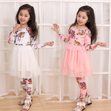New Girls Spring Clothing Sets Children Clothes Female Child Flower Print Long-Sleeve Voile Lace One-Piece Dress + Leggings G2