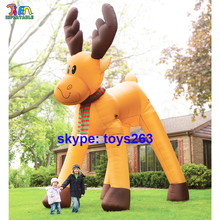 8m/9m/10m high giant inflatable christmas reindeer santa claus's sledge driver deer / big christmas inflatable elk deer for sale(China)