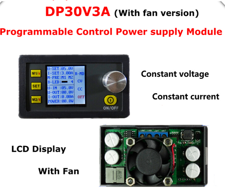 5pcs/lot LCD Digital display DP30V3A Step-down Programmable Power Supply Constant Voltage current converter voltmeter with fan<br><br>Aliexpress