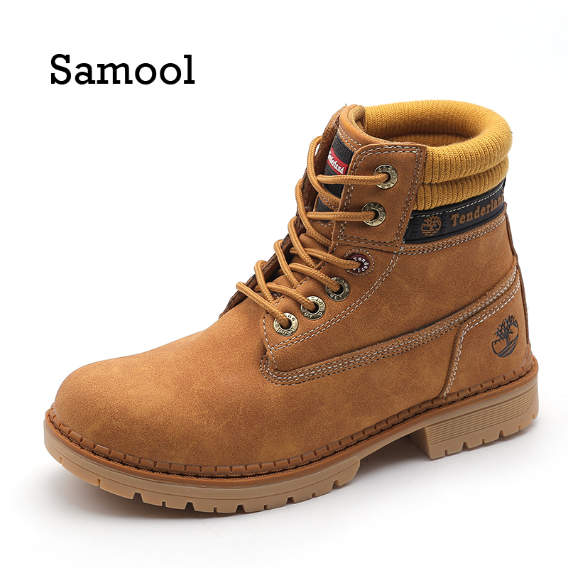 SAMOOL 2017 Fashion Women Boots Winter Lace Up Genuine Leather Classic Shoe High Top Flat Brand Casual Shoes Boots<br>