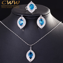 CWWZircons Brand 2017 Fashion Light Blue Cubic Zirconia Crystal 925 Sterling Silver Jewelry Sets For Women  T190