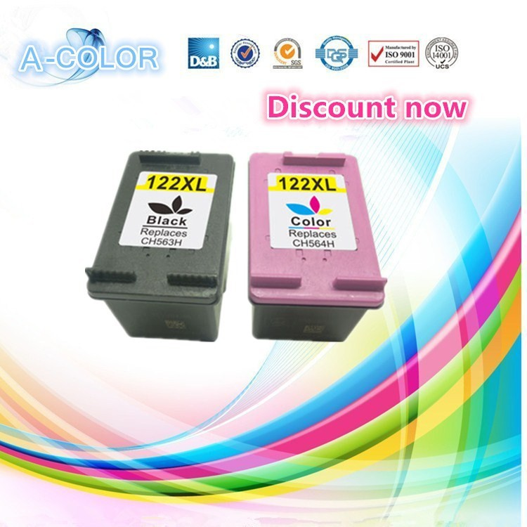 2 Piece Ink Cartridge For HP 122 122XL Black &amp; Tri-color Ink Cartridge For HP Deskjet 1000 1050 2000 2050 3000 3050A 3052A<br><br>Aliexpress