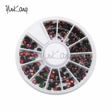 1 Wheel Ruby color Rhistone Acrylic Nail Polish Nail Decorations Tips Gems Nail Art DIY 3D Glitter Decoration Crystal Nail Art