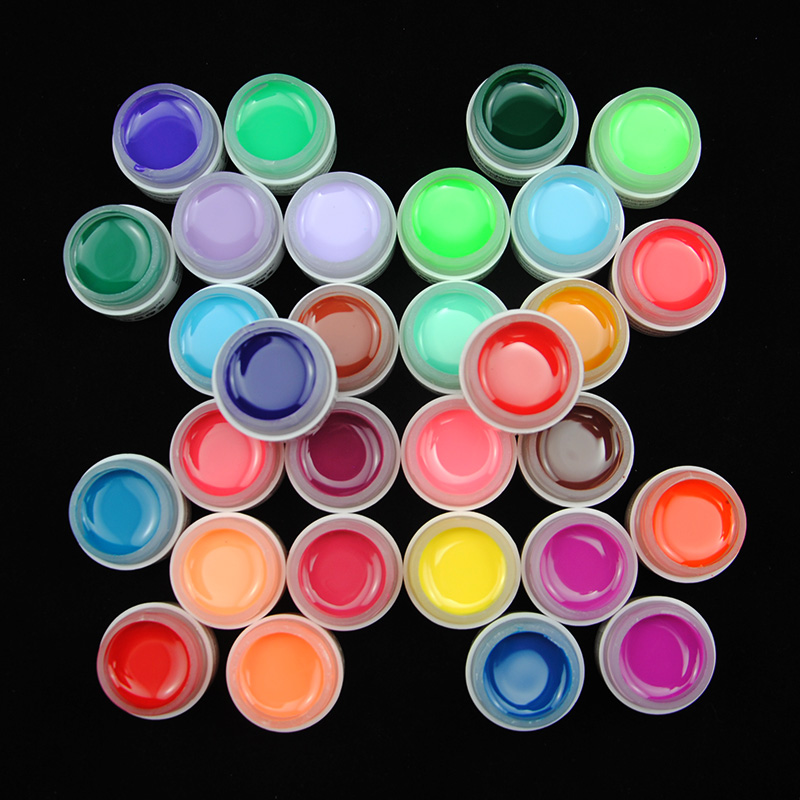 UV Gels 30 PCs/Lot Pure Solid Colors UV Gel Nail Polish Tips Builder For Manicure Nail Art Tools Pedicure Salon(China)