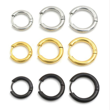 2 pieces Gold Silver Black 316L Brand New Stainless Steel Round Hoop Earrings Korean Cute small Circle Ear Jewelry(China)