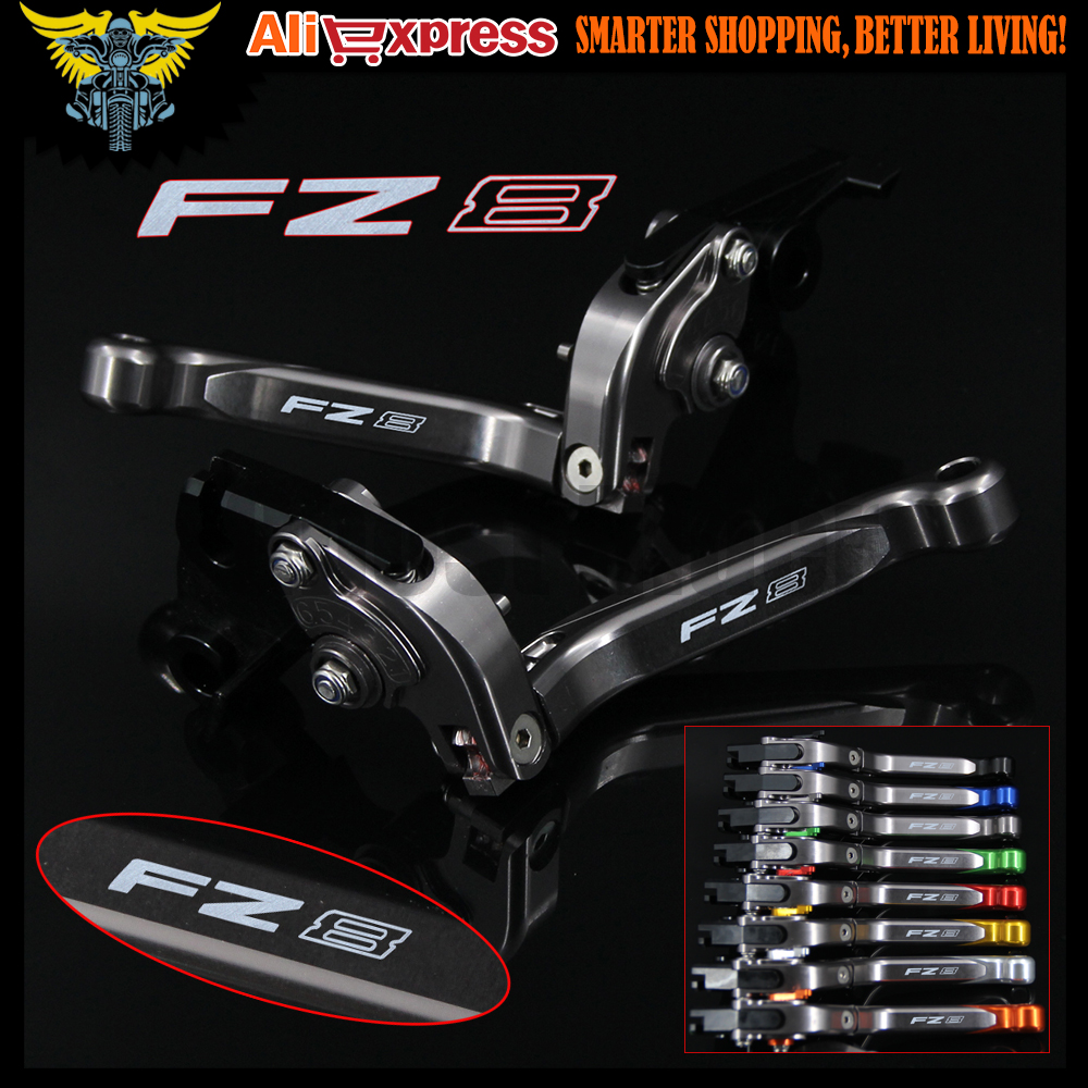 Laser Logo(FZ8) Full Titanium CNC  Folding Extendable Motorcycle Brake Clutch Levers For Yamaha FZ8 2011 2012 2013 2014 2015<br><br>Aliexpress