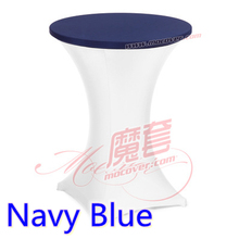 Navy blue colour spandex top cover for round cocktail lycra tablecloth wedding banquet and party cocktail table decoration sale