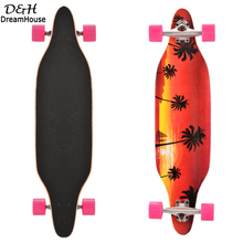 Brand Retro Printed Maple Wood carbon Steel Longboard Skateboard Fish Design 4 Wheels Road Skate Board Street Style Long Board