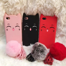 Fashion Tassel Pendant Rabbit Fur Hair Ball Phone Case For iphone 8 7 6s plus S8plus S7edge Cute 3D Smile Beard Cat Rubber Cover(China)