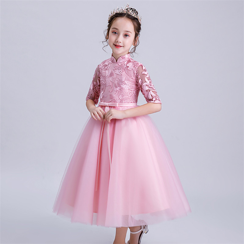 Children Girls Sweet Pink Wedding Birthday Party Dress Kids Bridesmaid Princess Dress Teenage Embroidery Lace Clothing Dress