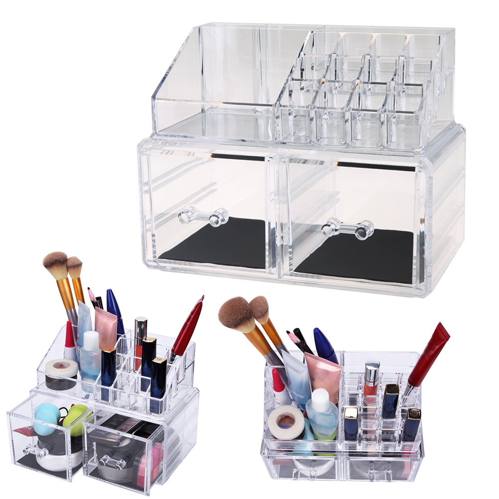 Clear Crystal Acrylic Cosmetic Organizer Box Desk Makeup Tool Kit Cream Bottles Jewelry Display Box Stand Rack Holder<br>