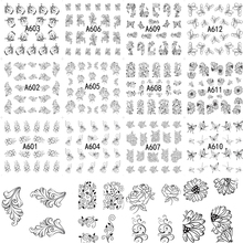 12 Designs in One Sets DIY Salon Black Flower Beauty Styles Water Transfer Tips Decals Nail Art Sticker Tools A601-612(China)