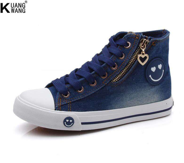 High-quality washed denim high-top shoes Korean version of the high-flat canvas women canvas shoes Smiling face denim shoes<br><br>Aliexpress