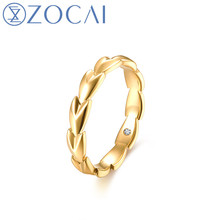 ZOCAI Brand Men Engagement Rings 18k Yellow Gold (AU750) 0.01 CT Real Diamond Gift Ring(China)