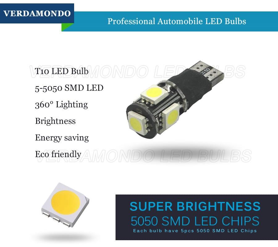 5pcs COB Ceramic White 6000k LED T10 194168 912 Car Map Dome License Light Bulb