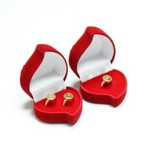 1 pcs Red Heart Shape Velvet Engagement Wedding Ring Box Jewelry Boxes Rose Flower Design Gifts Holder As You Want