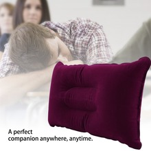 1pc Outdoor Portable Folding Air Inflatable Pillow Double Sided Flocking Cushion for Travel Plane Hotel free shipping