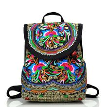 National trend canvas embroidery Ethnic backpack women handmade flower Embroidered Bag Travel schoolbag backpacks mochila