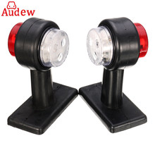 1Pair Red& White Truck Trailer Caravan Turn Light LED Double Side Marker Clearance Light Lamp 12V/24V
