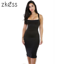 Zkess Bodycon Dress 2017 Sexy Bandage Black Sleeveless Sheath New Arrivals Club Spaghetti Strap Red Midi Slim Sexy Dress LC61159