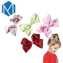 M MISM Lovely Big Ribbon Bow Hair Clips For Girls Cute Kids Bowknot Hairpin Solid Ties Knot Hair Accessories Barrettes Headwear