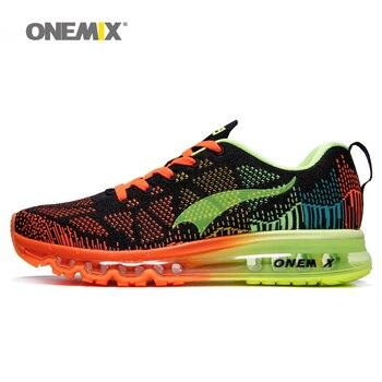 Hombres sport zapatos corrientes onemix música ritmo luz athletic shoe zapatillas de malla transpirable de los hombres al aire libre del zapato masculino ue 39-46