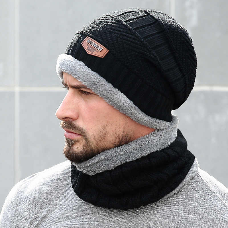 67d073d5a59db 2018 Men Beanie Knit Hat Winter Cap For Men Women Knitted Hat Scarf Set  Fashion Thicken